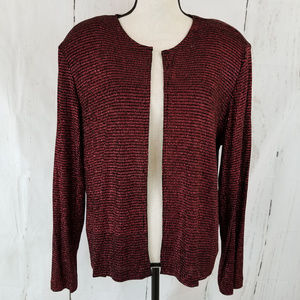 R&K Evening Open Front Cardigan Sz 16 Red NWOT